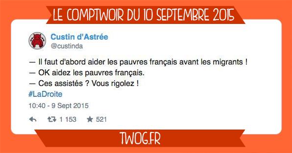 Sélection humour twitter comtpwoir septembre migrant lol meilleurs tweets