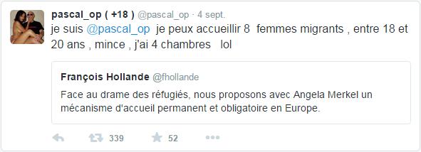 je suis @pascal_op  je peux accueillir 8  femmes migrants , entre 18 et 20 ans , mince , j'ai 4 chambres   lol