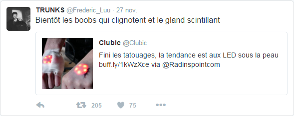 @Frederic_Luu  27 nov. TRUNKS a Retweeté Clubic Bientôt les boobs qui clignotent et le gland scintillant