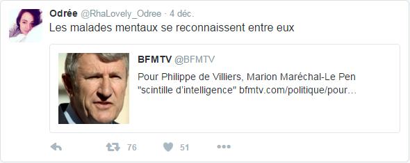 @RhaLovely_Odree  4 déc. Odrée a Retweeté BFMTV Les malades mentaux se reconnaissent entre eux
