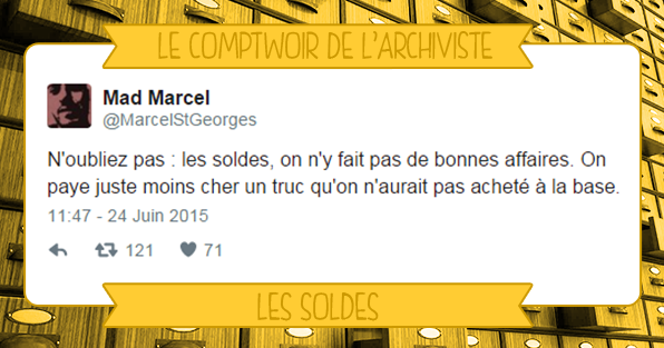 Comptwoir de l'archivistes sélection de tweets sur les soldes