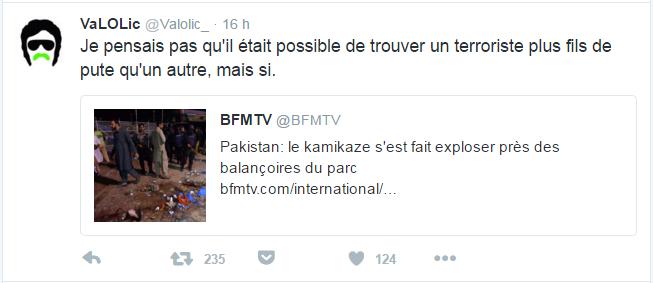 VaLOLic @Valolic_  BFMTV Je pensais pas qu'il était possible de trouver un terroriste plus fils de pute qu'un autre, mais si.