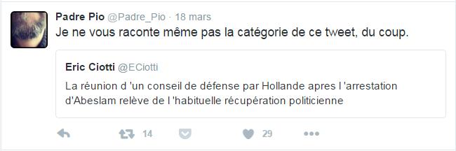 Padre Pio @Padre_Pio  18 mars Padre Pio a retweeté Eric Ciotti Je ne vous raconte même pas la catégorie de ce tweet, du coup.