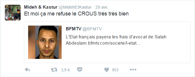 Mideh & Kastur @MidehEtKastur  29 avr. Mideh & Kastur a retweeté BFMTV Et moi ça me refuse le CROUS très très bien