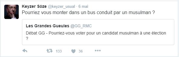 Keyzer Söze @keyzer_usual  6 mai Keyzer Söze a retweeté Les Grandes Gueules Pourriez vous monter dans un bus conduit par un musulman ?