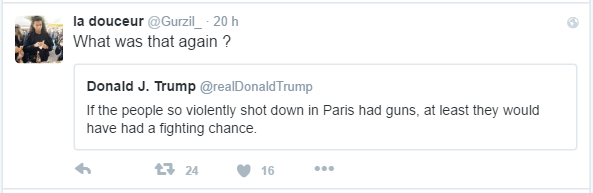 la douceur ‏@Gurzil_  20 hil y a la douceur a retweeté Donald J. Trump What was that again ?