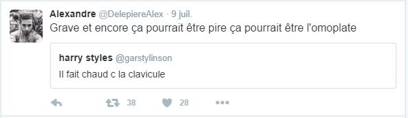 Alexandre @DelepiereAlex  9 juil. Alexandre a retweeté harry styles Grave et encore ça pourrait être pire ça pourrait être l'omoplate