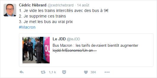 1. Je vide les trains intercités avec des bus à 9€ 2. Je supprime ces trains 3. Je met les bus au vrai prix #Macron