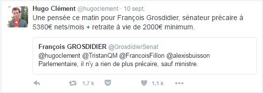 Une pensée ce matin pour François Grosdidier, sénateur précaire à 5380€ nets/mois + retraite à vie de 2000€ minimum.
