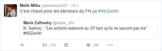 C'est chaud pour les électeurs du FN ça #NSZenith