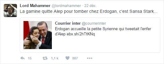 La gamine quitte Alep pour tomber chez Erdogan, c'est Sansa Stark...