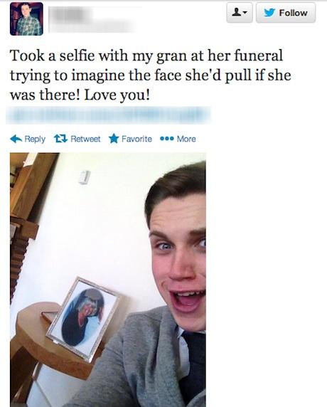 Gros smile à l'enterrement !