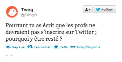 """Clique pour voir le billet """"Twitter ? Pas pour les profs"""""""