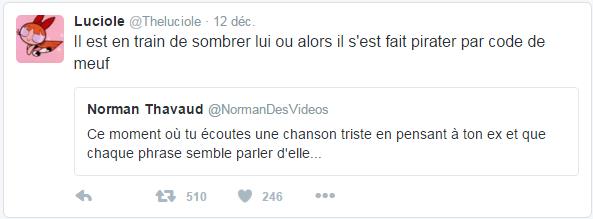 @Theluciole  12 déc. Luciole a retweeté Norman Thavaud Il est en train de sombrer lui ou alors il s'est fait pirater par code de meuf