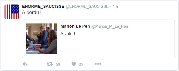 @ENORME_SAUCISSE ENORME_SAUCISSE a retweeté Marion Le Pen A perdu !