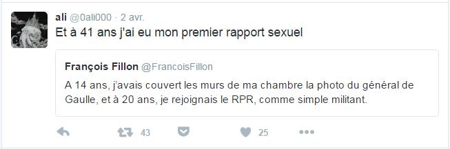 ali @0ali000  2 avr. ali a retweeté François Fillon Et à 41 ans j'ai eu mon premier rapport sexuel