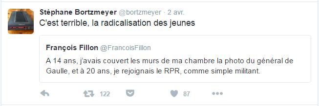 Stéphane Bortzmeyer @bortzmeyer  2 avr. Stéphane Bortzmeyer a retweeté François Fillon C'est terrible, la radicalisation des jeunes