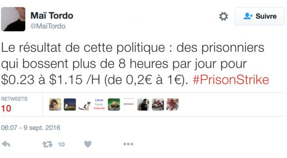 Image de couverture de l'article : Tweetstory   #PrisonStrike
