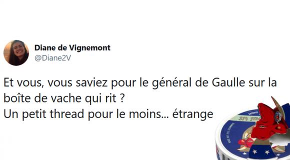 Image de couverture de l'article : Thread : Quand le général de Gaulle était dissimulé sur les boîtes de vache qui rit